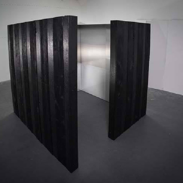 KU (EMPTINESS/THE SKY SHOU SUGI BAN) 2014 // CHARRED CEDAR SIDING AND URETHANE AND PIGMENT ON ALUMINUM