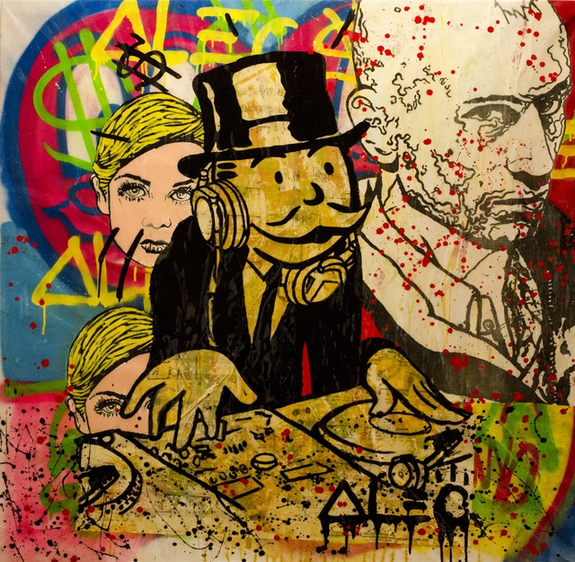 Alec Monopoly Monopoly DJ - Bob & Twiggy, 2013, Spray paint and acrylic on canvas, 135 x 135 cm